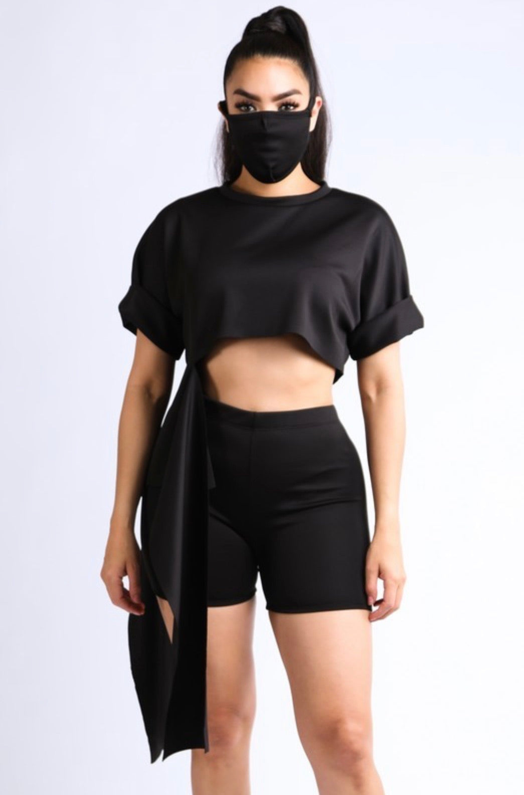 Crop Top And Biker Shorts Set With Mask
