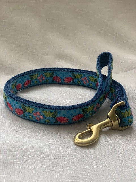 Blue Cherries Dog Lead