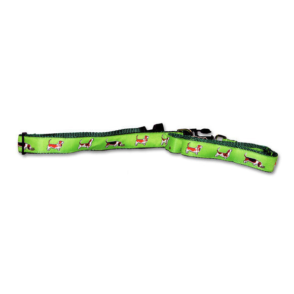 Basset Hound Dog Collar in Green from Absolutely Animals