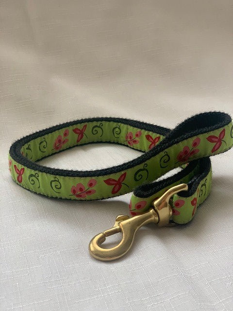 Green Floral Dog Lead