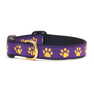 Purple Yellow Paw Dog Collar