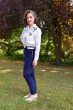 Ladies Western Pants Navy Corduroy