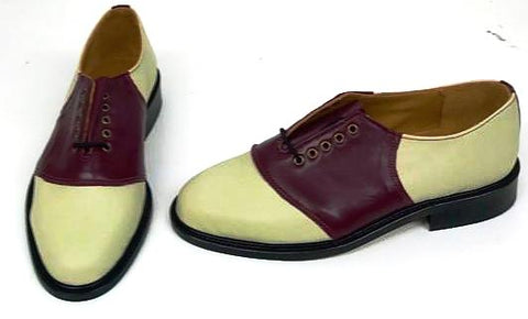Saddle Cream/Burgundy  IN STOCK NOW size 5½