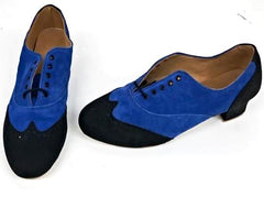 Ladies Brogue Black Suede/Blue Suede IN STOCK NOW size 6½ END OF LINE