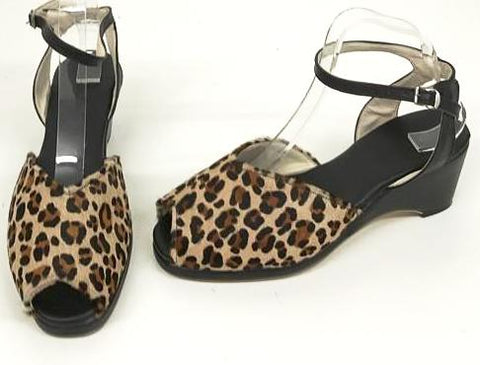 Gina Wedge Sandals Cheetah/Black Leather - IN STOCK NOW