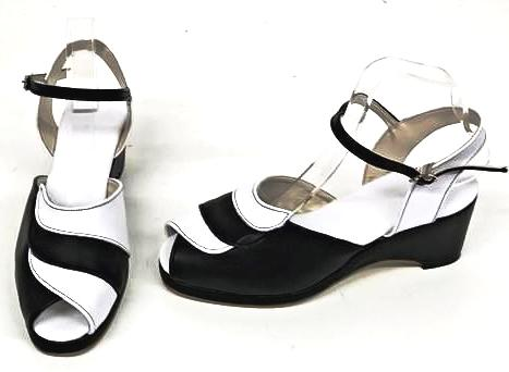 Lauren Black/White Wedge Sandals - IN STOCK NOW