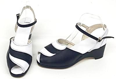Lauren Navy/White Wedge Sandals - IN STOCK NOW