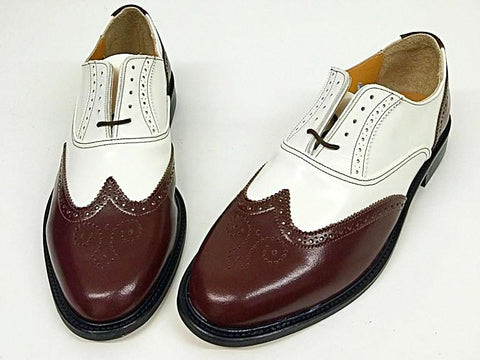 G Brogue Reddy Brown/White with White Facing - IN STOCK NOW size 10 ½
