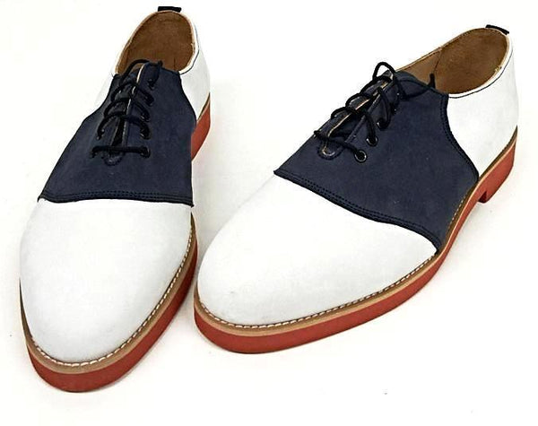 Saddle White Leather/Navy Nubuck with Red EVA sole IN STOCK NOW size 5 ½