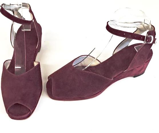 Gina Wedge Sandals Burgundy Suede - IN STOCK NOW
