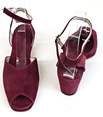 Gina Wedge Sandals Burgundy Suede In Stock Now Johnson Shoes