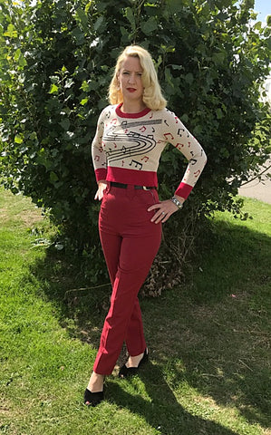 Ladies Western Pants Deep Red  IN STOCK ONLY