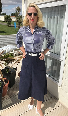Ladies Western Skirt Navy Corduroy