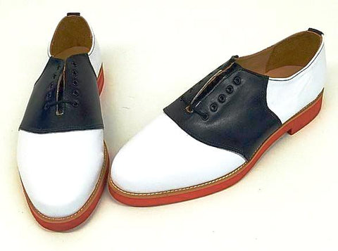 Saddle White/Black Leather  Red EVA sole  END OF LINE SALE
