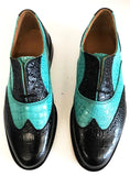 G Brogue with Facing Black Croc/Turquoise Croc  IN STOCK NOW