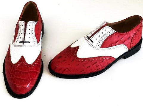 A Brogue  Red Croc/White Croc Leather sole - IN STOCK NOW