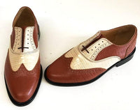 A Brogue  Tan Snake/Cream Croc Leather sole - IN STOCK NOW