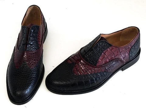 G Brogue with Facing Black Croc/Burgundy  Croc   IN STOCK NOW