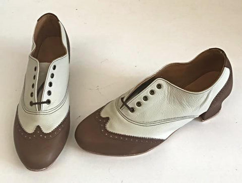 Ladies Brogue Brown/Cream  IN STOCK NOW