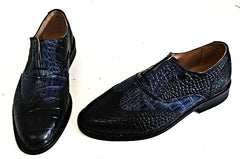 A Brogue  Black Croc/Navy Croc Leather sole - IN STOCK NOW