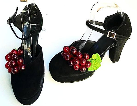 1940s  Platform Black Nubuck/Cherry Full Back END OF LINE size 2 fit