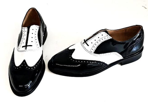 A Brogue  Black Patent/White Patent - IN STOCK NOW