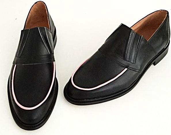 50s Slip On Black/ Baby Pink Piping IN STOCK ONLY