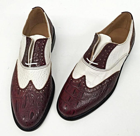 G Brogue - Burgundy Croc/Cream Croc Burgundy Facing Leather sole - IN STOCK NOW