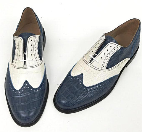 A Brogue - Blue/Cream Leather sole - IN STOCK NOW