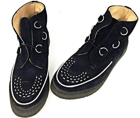Creeper Boot Navy Suede/White Piping D-Ring IN STOCK ONLY END OF LINE