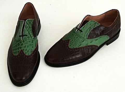 A Brogue Brown Croc/Green Croc Leather sole - IN STOCK NOW Size 10 ½