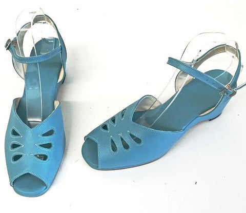 Rita Wedge Sandals Turquoise - IN STOCK NOW