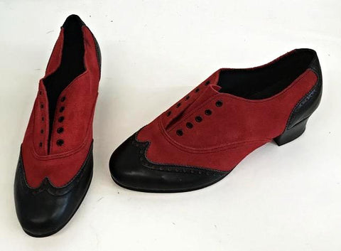 Ladies Brogue Black/Red Suede END OF LINE