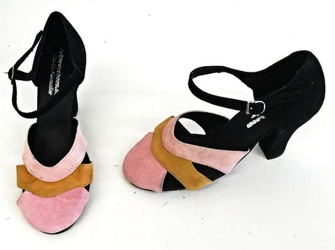 Vivien Black/Gold/Pinks Suede Full Back IN STOCK NOW size 3