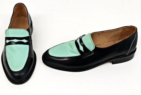 Penny Loafer Black/Mint Leather  IN STOCK NOW size 8