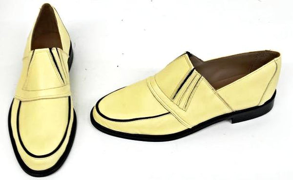 50s Slip On Pale Yellow/Black Piping IN STOCK ONLY size 10½
