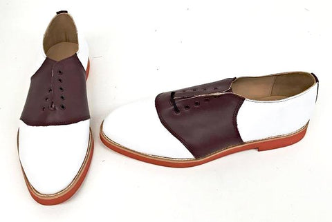 Saddle White/Burgundy Red EVA Sole  size 10  END OF LINE SALE