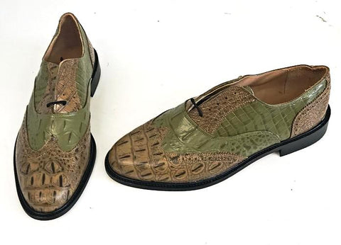 G Brogue  with Facing Pecan Croc/Green Croc Leather sole - IN STOCK NOW