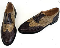 G Brogue with Facing Brown Croc/Pecan Croc Leather sole - IN STOCK NOW