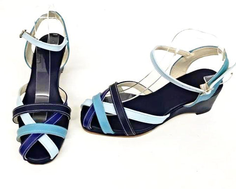 Jean Wedge Sandals Blue Belle - IN STOCK NOW