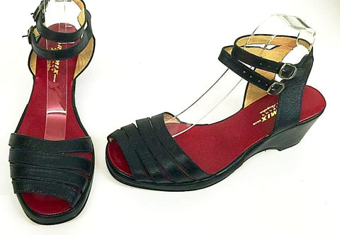 Re-Mix Wedge Sandals Style 109 Black UK 8