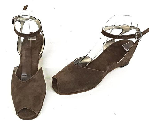 Gina Wedge Sandals Brown Suede - IN STOCK NOW