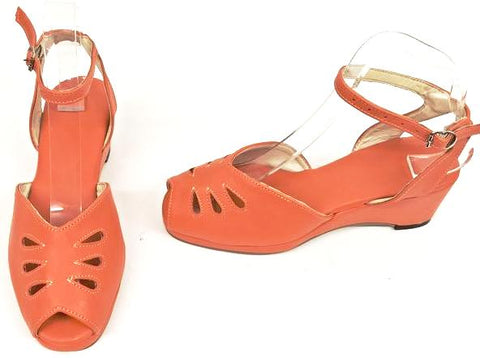 Rita Orange H-Back Wedge Sandals  - IN STOCK NOW