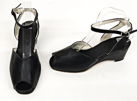 Gina  Black  Wedge Sandals  - IN STOCK NOW
