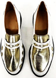 Penny Loafer White/Gold Leather Diamonds IN STOCK ONLY size 7