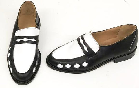 Penny Loafer Black/White Leather with Diamonds  IN STOCK NOW