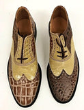 A Brogue  Brown  Croc/Light Beige Croc Leather sole - IN STOCK NOW  END OF LINE