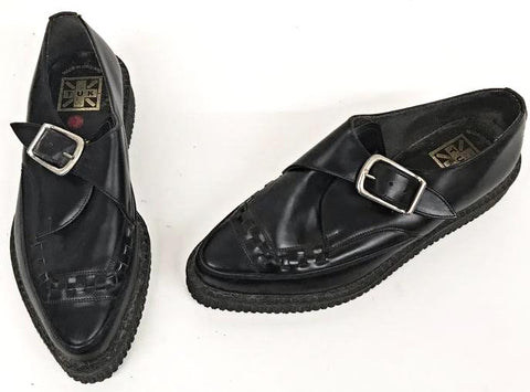 Creeper Pointed With Buckle Black  Leather  IN STOCK NOW END OF LINE