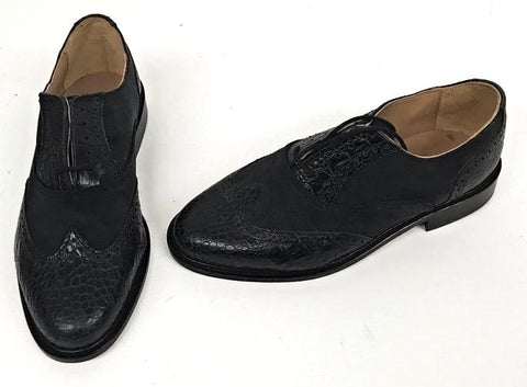 A Brogue Black Croc/Black Nubuck IN STOCK ONLY size 7½