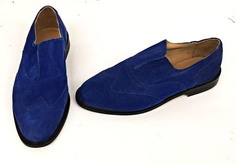 A Brogue Blue Suede. Leather sole. - IN STOCK NOW